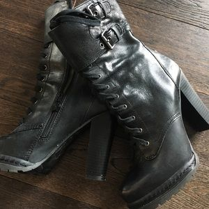 BCBG Generation Black Leather Heeled Boots